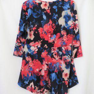 Susan Graver Tops - Susan Graver Silky Soft Navy Floral High Low Top